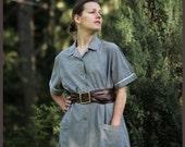 Housewife's Dress - 70ies Grey Cotton oversized midi Dress