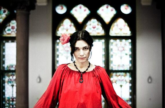 Carmen - cranberry red cotton Boho blouse