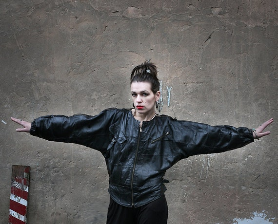 Lisbeth Salander jacket - Crazy Patchwork Zipped Leather Punk 1980ies