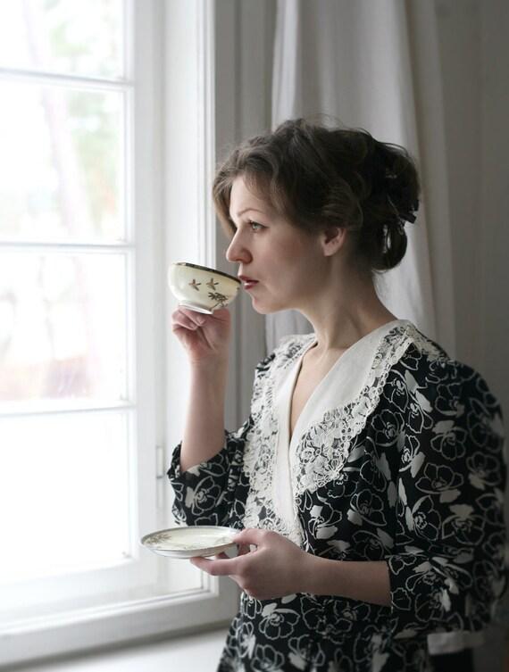 Latvian Thursday nr. 1 Easter breeze - SALE 25% off - Tatiana Dress - Black and White peplum Lace collar Long dress