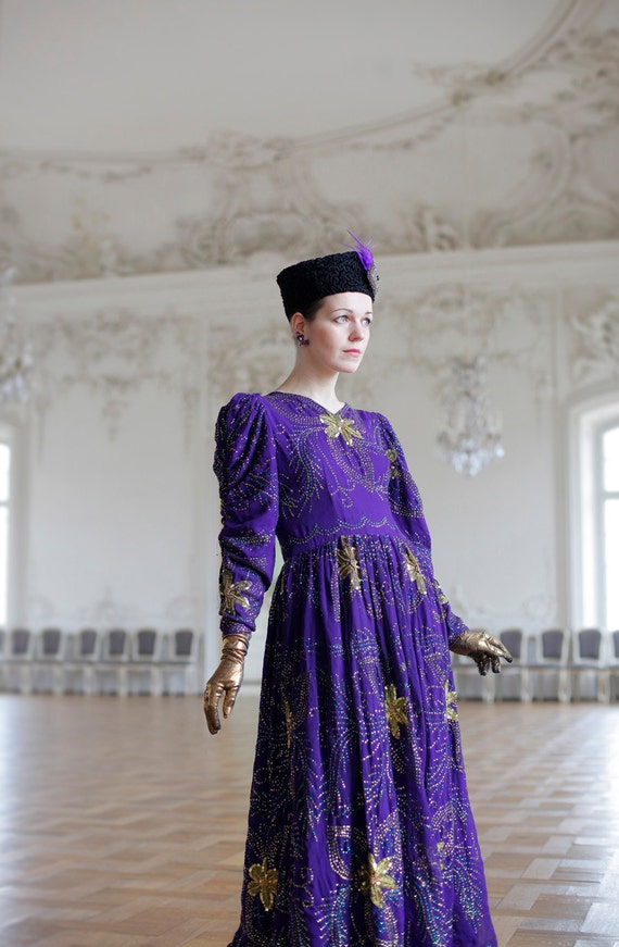 Venice - Purple Gold 1980ies Sequined Costume Dress