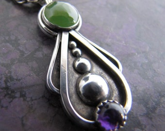 Modern Jade and Amethyst Sterling Pendant