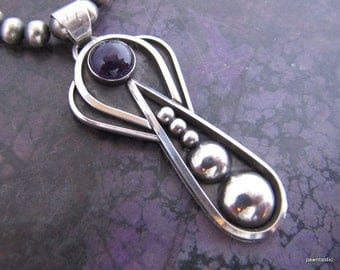Modern Sterling and Amethyst Pendant