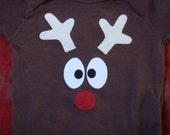 READY TO SHIP 5/6 reindeer long sleeve shirt with tail on the back