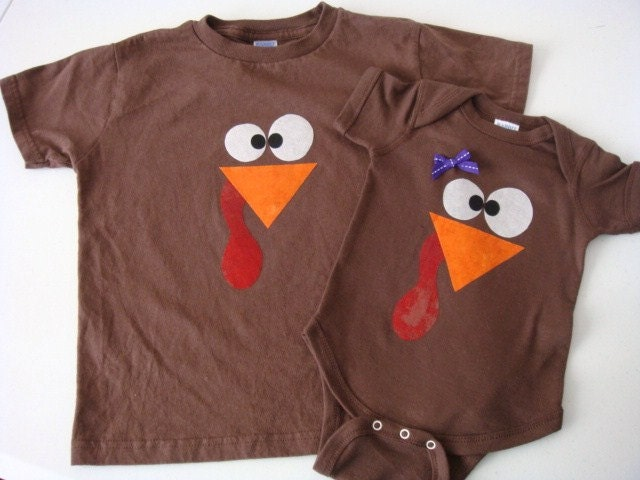 Little Turkey Thanksgiving Onesie Or Shirt With Feathers On