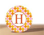 Orange and Pink Polka Dot Monogram Pocket Mirror
