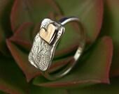9K Gold Heart Silver  Ring - ElenadE