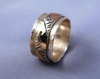 Hammered Spinning Silver Gold 9K Ring - ElenadE - R1119