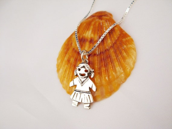 Sterling Silver  Girl  Pendant.Gift for New Parents and Grandmother  - ElenadE