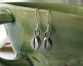 Coffee Bean Earrings, Handscupted in Fine and Sterling Silver