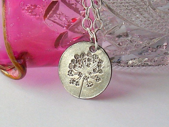 Small Queen Anne's Lace Necklace, Hand-stamped in Fine Silver