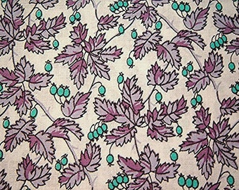 Vintage Fabric 1960s Purple Fabric yardage Leaves and Berries White Purple Lavender Turquoise 36 inch wide Vintage Fabric by the yard