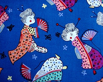 1960s Vintage Sewing Fabric Geisha Girl Novelty Print Cotton Fabric 1 yard