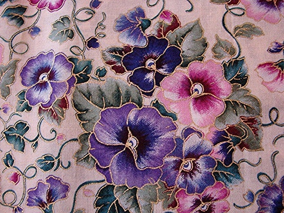 Floral Pansy Fabric Flowers Purple Pink Green