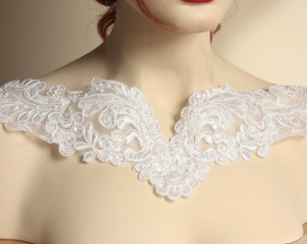 White beaded Yoke Collar  neckline -  1 piece