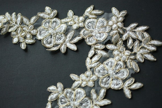 Ivory Bridal lace applique with gold outlay - Item number IV-1005 ( 2 pieces)