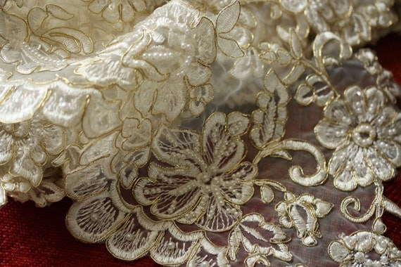 Vary Large Beaded off white or Ivory Gold Bridal lace trim - Item number IVT-2004 (36 inches or 3 feet)