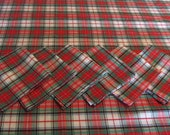 Red and Green, Black and White Checked Tablecloth and Napkins, Eco Friendly