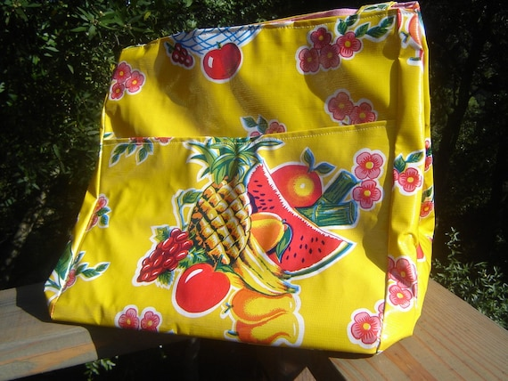 Recycled, upcycled, repurposed vinyl tablecloth knitting bag