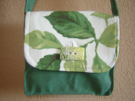 Green, Recycled, Small Purse With Handmade Button