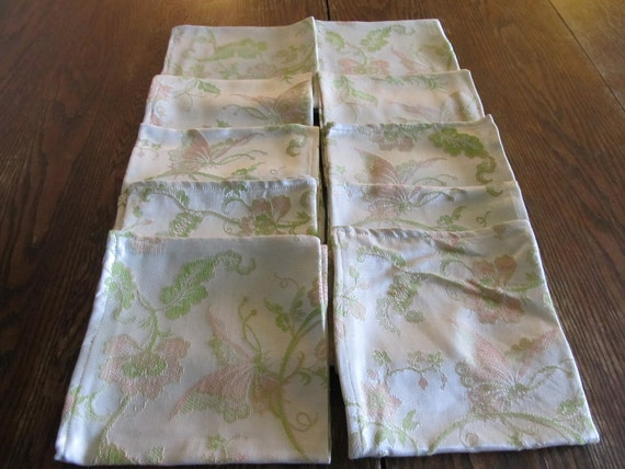 Ten Large and Lovely Butterfly Floral Cloth Napkins
