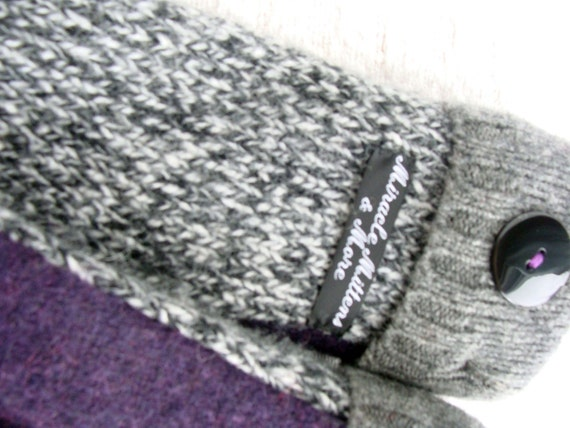 Handmade Mittens, Upcycled Wool, Ladies or Teens, Gray and Purple