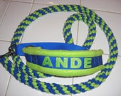 CUSTOM MADE-Name Embroidered, Martingale Style All in One Collar and Leash Agility Leash (fleece spiral knotting NOT braiding)