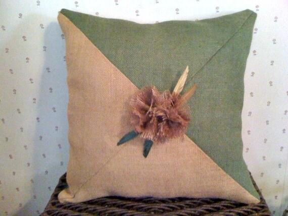 Burlap Handmade Pillow with Flower