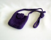 Crochet felted pouch, purple with felted flower handmade