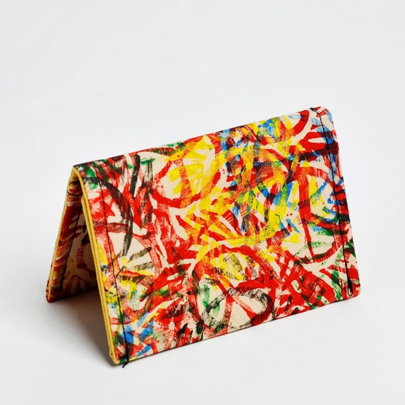 Peace print wallet - card holder, reuse hand print scrap fabric