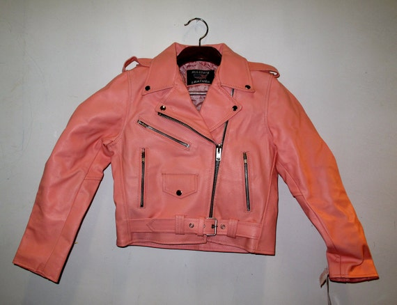 RESERVED / SALE:  Pink Motorcycle Jacket LEATHER xs - s