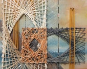 String Art Painting in Blue, Orange and Yellow, Temeraire