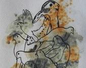 Peregrin/Doves Original Illustration from Predator/Prey