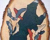 Bear and Salmon Original Painting on Wood Predator/Prey Series