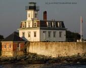 Rose Island Lighthouse, Newport Rhode Island, Art Photo,  Photograph 5 x 7, Lighthouse Decor, Rhode Island Landmark, Nautical Home Decor Art