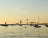 Sunset Photographs, Newport Rhode Island, Fine Art Print, Home Office Decor, Newport Bridge, Jamestown Bridge, Golden Light, Boats