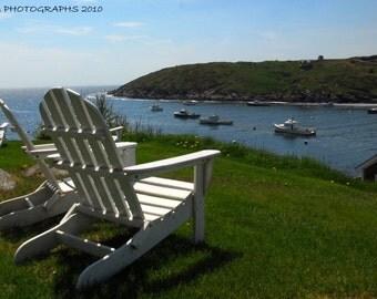 Monhegan Island, Fine Art Print, White Adirondack Chairs, Bedroom Decor, Summer Cottage Decor, Maine Landscape, Maine Island, Lobster Boats