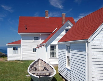 Nautical Decor, Coastal Home Decor, Monhegan Island Maine, Maine Cottage, White Row Boat, Interior Home Decor Coastal Style, Oceanfront Home