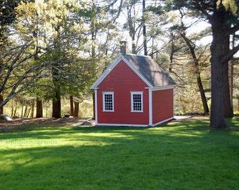 Red School House, Mary Had a Little Lamb, Childs Room, Sudbury, MA, School Room Decor, One Room Schoolhouse, Little Red School House Print