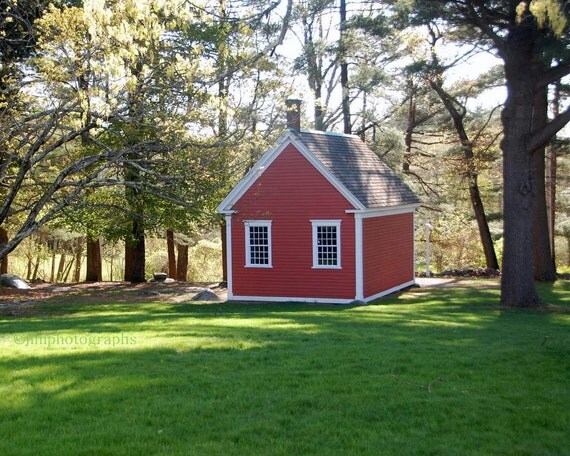 Red School House, Mary Had a Little Lamb, Childs Room, Sudbury, MA, School Room Decor, One Room Schoolhouse, Little Red School House Print