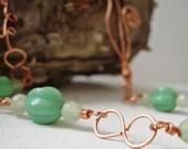 Copper Beaded Asymmetrical Necklace - Fiddlehead Fern