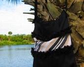 Classic Black Ruffled Cross Body bag