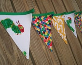 Fabric Bunting Banner with Numbers - Made from Very Hungry Caterpillar Fabrics