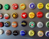 Beer and Soda Bottle Cap Magnets -- Six Pack