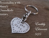 NANA Brag Keychain made of a Stainless Steel Heart - Personalize with her grandkids names