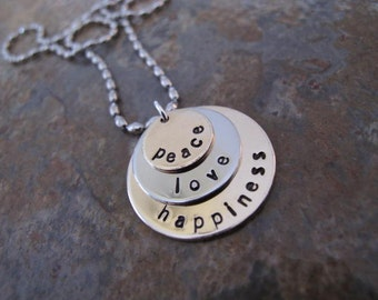 Peace, Love & Happiness Custom Stack Inspirational Necklace