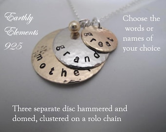 3 Separate Disc Cluster Necklace - Hammered & Domed  -  Your choice of Words or Names