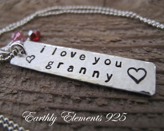 Granny Brag Necklace with her Grandchildren's Birthstone Crystals