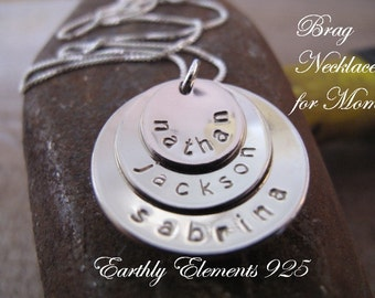 Custom Stacked & Cupped Family Name Necklace in Nickel Silver