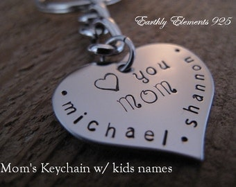 MOM Brag Keychain made of a Stainless Steel Heart - Personalize with her childrens names